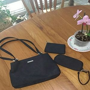 Black Brocade Purse Set EUC by Worthington